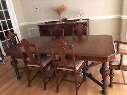 Hellam 1900's Antique Dining Set, Side Board, And China Cabinet