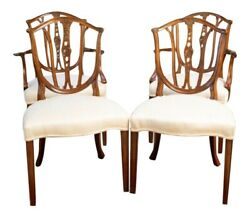 A Set 4 Of Hand-carved Mahogany Hepplewhite Shield Back Dining Chairs