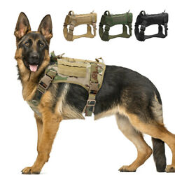 Dog Tactical Harness K9 Training Military Molle Vest Camouflage Green Black M XL