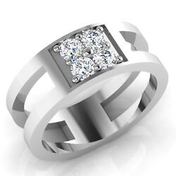 Real 0.49 Ct Diamond Menand039s Ring Gold Engagement Ring Solid 14k White Gold Size 7