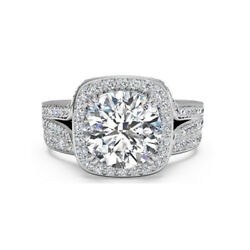 1.15 Ct Real Diamond Engagement Ring 14k Solid White Gold Band Set Size M N O P