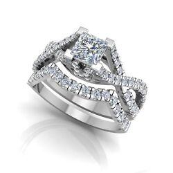 1.06 Ct Diamond Engagement Ring Solid 14k White Gold Band Size 6 7 Princess