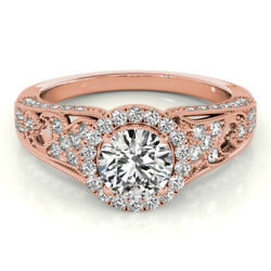 1.10 Ct Real Diamond Engagement Band Solid 14k Solid Rose Gold Ring Size 5 6 7