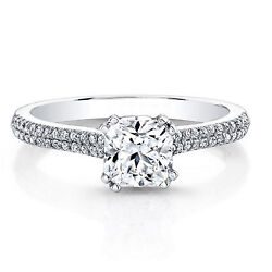 Solid 14k White Gold Band 0.71 Ct Natural Diamond Engagement Ring Cushion 5 7 8