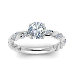 0.70 Ct Real Round Diamond Engagement Ring Solid 14k White Gold Band Size 6 7 8