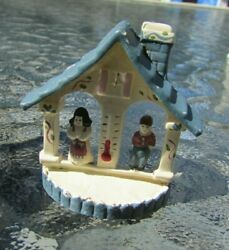 Miniature Hand Painted German Weather House Black Forest Couple Figurine 1980s