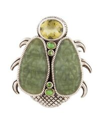 Stephen Dweck Sterling Silver Large Beetle Multi Stone Brooch Pin Rare