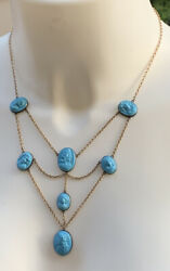 Antique 10k Gold Turquoise Molded Glass Cameo Set In Sterling Festoon Necklace