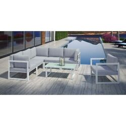 Modway Fortuna 7 Piece Outdoor Sofa Set In White And Gray