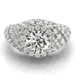 2.00 Ct Real Diamond Engagement Ring 14k Solid White Gold Round Band Size 5 6 7