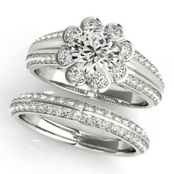 Real 1.60 Ct Diamond Engagement Ring Solid 14k White Gold Band Set Size 5 7 8