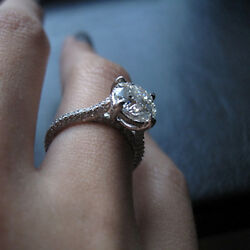 Offer 1.60ct Real Diamond Engagement Wedding Ring Solid 14kt Gold White Size 5 6