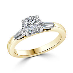 0.76 Ct Real Round Diamond Band 18k Solid Yellow Gold Engagement Ring Size 5 6 7