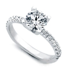 Sale 1.00 Ct Real Diamond Engagement Ring Solid 18k White Gold Band Size 5 7 8 9