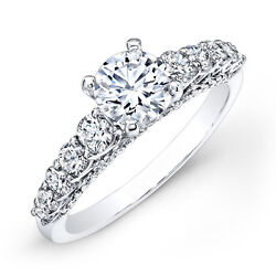 1.40 Ct Real Round Diamond Engagement Ring 14k White Gold Rings Size 5 To 9