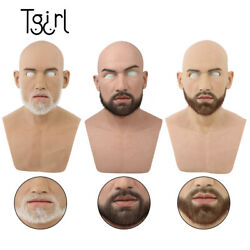Tgirl Silicone Handsome Man Male Mike Headgear Cosplay With 3 Colors Beard