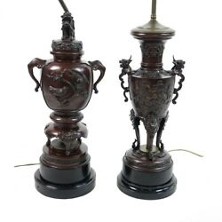 Lot Of Two 2 20th Century Japanese Bronze Urns Mounted As Lamps.