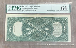 Fr. 39 1917 1 Legal Tender Misalignment Error Pmg Paper Money Guaranty Unc 64