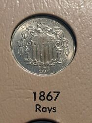 1867 Philadelphia Mint Shield Nickel With Rays Very Rare Ch-gem Uncirculated