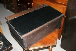 Early Antique Folk Art Wood Tabletop Desk Writing Slope Square Nails