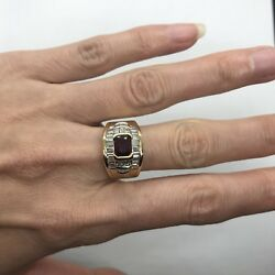 Vintage Mouawad 18k Yellow Gold Natural Ruby Baguette Vs Diamond Wide Ring White
