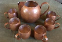 Mexican Copper Pitcher And 6 Mugs-vintage-heavy-deco-southwest-artsandcrafts