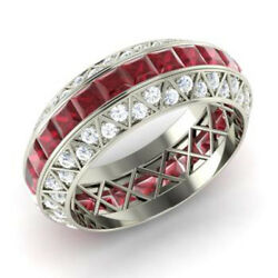 Real 14k White Gold 3.5ct Natural Diamond Ruby Gemstone Rings Size 5.5, 6, 8