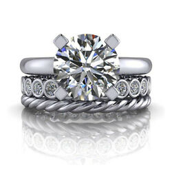 1.70 Ct Real Diamond Engagement Ring Solid 18k White Gold Band Set Size 5 7 8 9