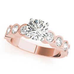 Solid 14k Rose Gold Band Sets 1.50 Ct Real Diamond Engagement Ring 9 8 7.5 6.5