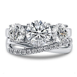 3.93 Ct Diamond Wedding Band Real 14k Solid White Gold Ring Set Lab Certified