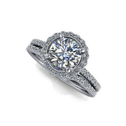 1.10 Ct Real Diamond Engagement Ring Solid 14k White Gold Band Set Size 5 7 8 9