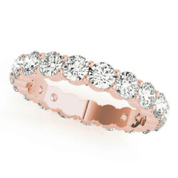 Natural 3.00 Ct Diamond Engagement Ring Solid 14k Rose Gold Eternity Band J K