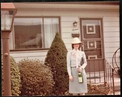 Vintage Photograph Woman In Crazy Hat Standing By House W/ Bottle Of Wine