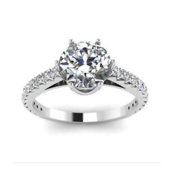 Solid 18k White Gold 0.83 Ct Genuine Diamond Women's Engagement Ring Size 5 7 9