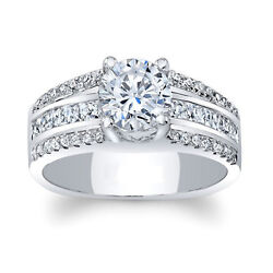 Round 1.41 Ct Diamond Engagement Ring Solid 14k White Gold Band Size 6 7 8