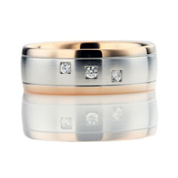 Natural 0.3 Ct Diamond Men's Rings Sold 14k White /rose Gold Band Father's Day