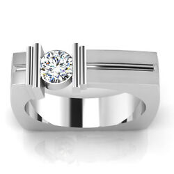 Real 14k Solid White Gold Natural 0.47 Ct Diamond Mens Ring Engagement Size 9