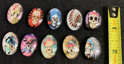 Day Of The Dead 10 Pieces Magnet Oval Glass Dome Cabochon Beads 13andtimes18-30andtimes40mm