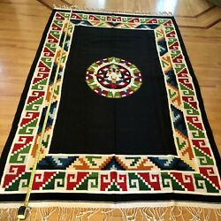 Vintage Mexican Latin American Aztec God Wool Rug Bedcover Large 6'x9.5' Color