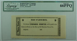 183_ 3c Three Cents Remainder Redford Glass Co. Ny Currency Note Legacy 66 Ppq