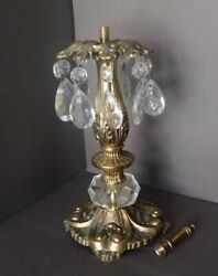 Vintage Victorian Brass Hanging Crystal Prisms Lamp Base Part W/ Finial