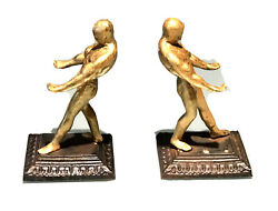 Pair Vintage Antique Gilt Metal Athletes Bookends Holders Old Decor Statue Old