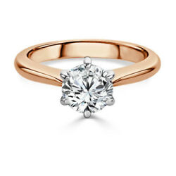 0.50 Carat Round Real Diamond Engagement Rings 14k Solid Rose Gold Size M N O P