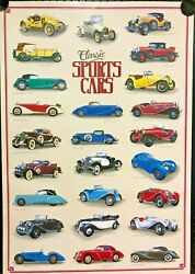 3 Classic Sports Cars Vintage Overview Posters, Free International Shipping