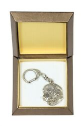 Golden Retriever Keychain In A Box, Silver Plated Key Ring Ca 2722