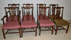 Eight Chippendale Mahogany Dining Chairs By Hickory Chair Company