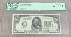 Fr. 2100-f 50 1928 Federal Reserve Note Pcgs Curency Grading Choice New 63 Ppq