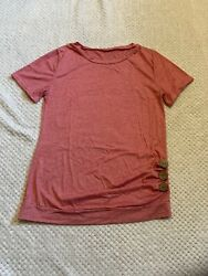 Cute Women T Shirt With Decorative Buttons Red Size S $8.00