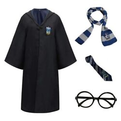 Harry Potter Kids Adult Cosplay Costume Robe Cloak With Tie Scarf Glasses Frame