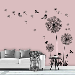 Supzone Dandelion Wall Stickers Flower Wall Decals Butterflies Flying Wall Decor